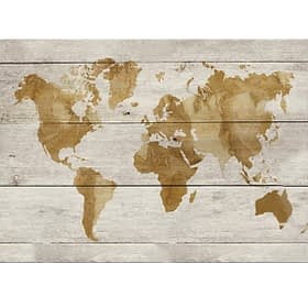 World In Watercolour - Wood Panel Wall Art