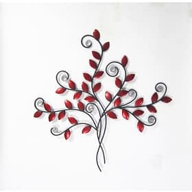 Bouquet Of Swirls & Branches Metal Art Wall Hanging - Red/Black