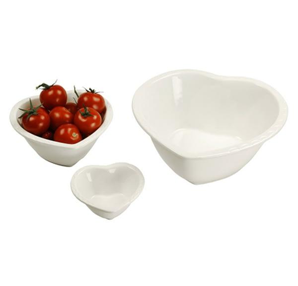 Glazed Heart Bowls - Set of 3