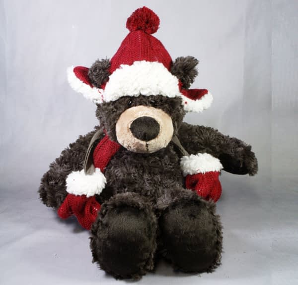 Plush Brown Bear With Hat & Mittens - 250mmH