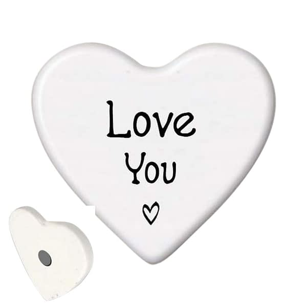 Ceramic Heart-shaped Magnet - Love You