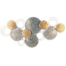Abstract Circles Decorative Metal Art Wall Hanging - Blue & Gold