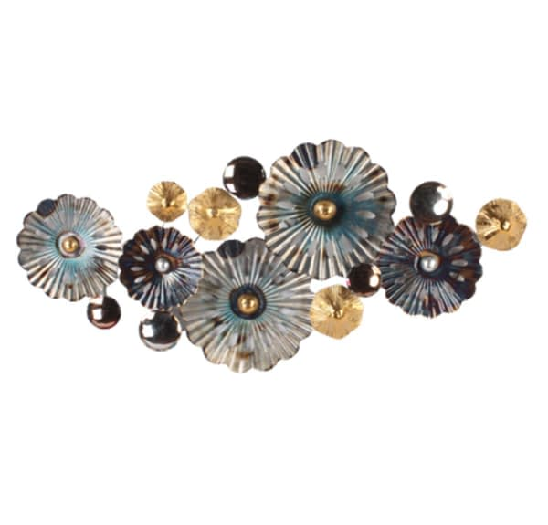 Floral Display Metal Art Wall Hanging - Turquoise & Gold