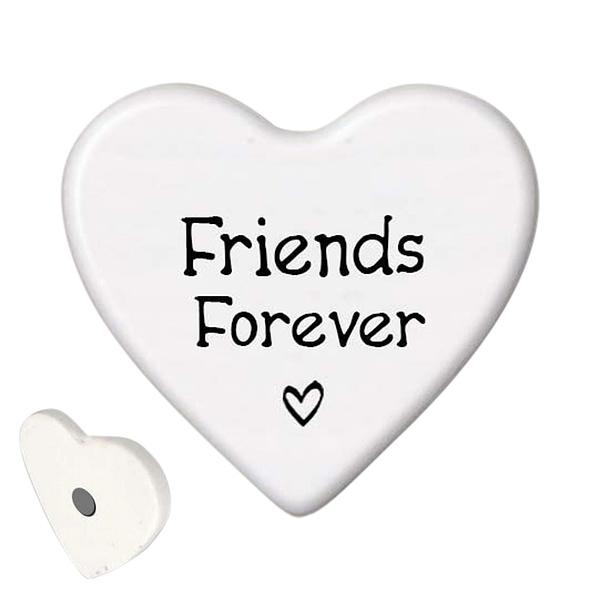 Ceramic Heart-shaped Magnet - Friends Forever