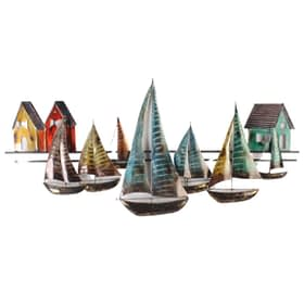 Sailing Regatta Metal Art Wall Hanging - multi