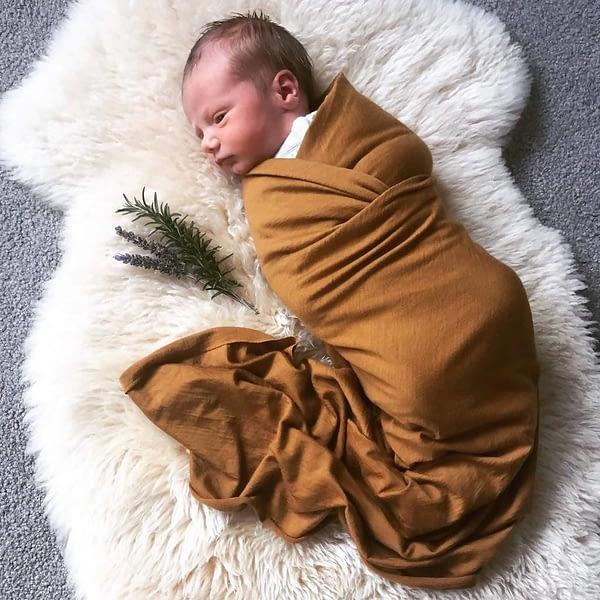 Merino Baby Swaddle - Ochre
