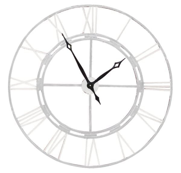 Outdoor Wall Clock - Antique White Finish
