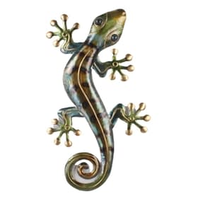 Rustic Gecko Metal Art Wall Hanging - multi