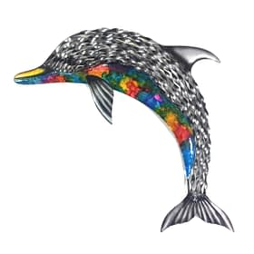 Dolphin Metal Art Wall Hanging - Rainbow