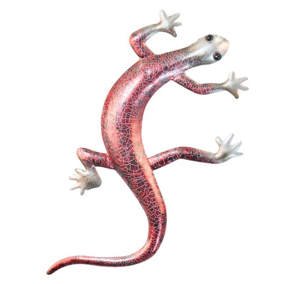Gecko Cackle Metal Art Wall Hanging - Red