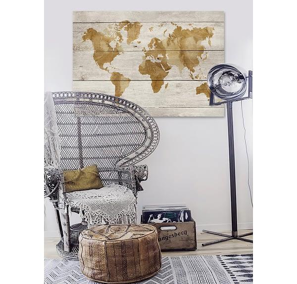 World In Watercolour - Wood Panel Wall Art