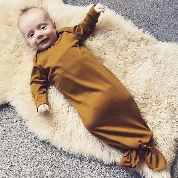 Merino Baby Gown - Ochre