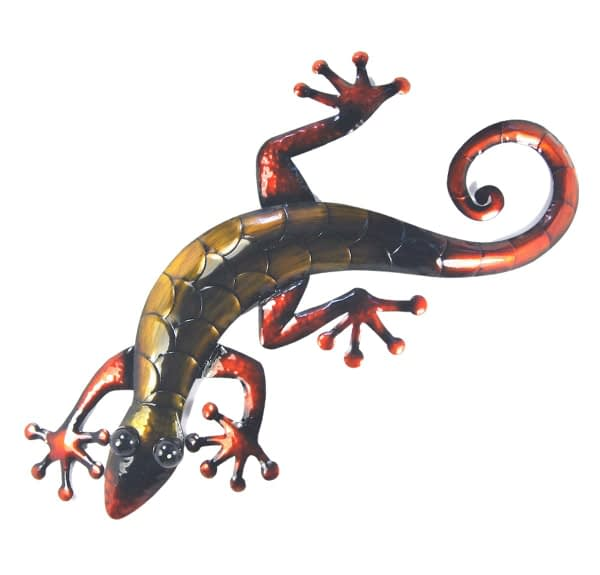 Gecko Large Metal Art Wall Hanging - Bronze