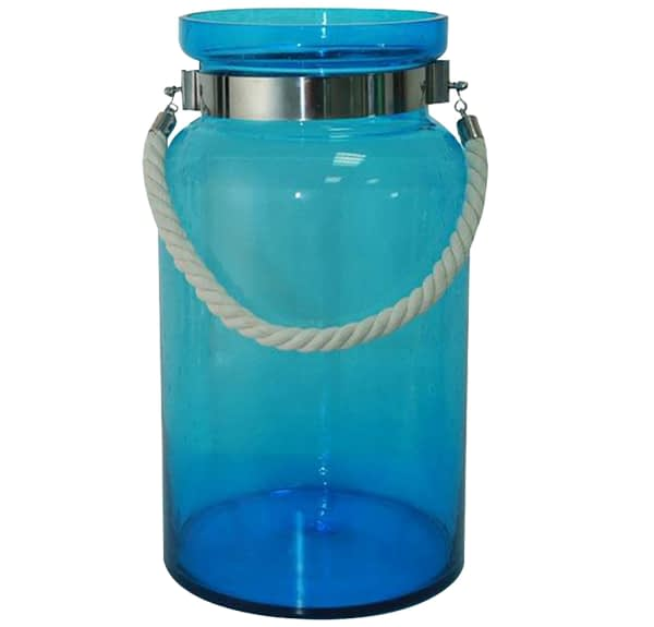 Blue Glass Vase With Rope Handle