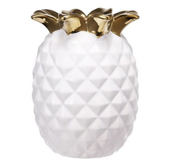 Decorative Pineapple Vase - white/gold