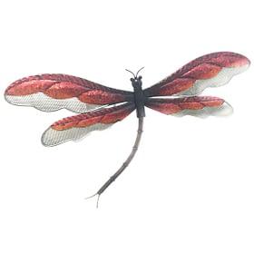 Dragonfly Mesh Metal Art Wall Hanging - Red