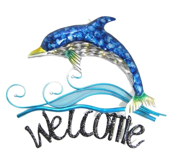 Dolphin Metal Welcome Sign