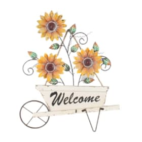 Sunflower Cart Metal & Wood Wall Hanging Welcome Art
