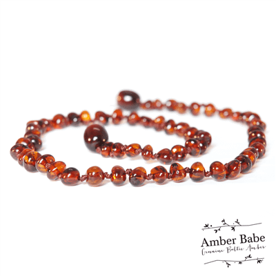 Dark brown polished beads baby teething necklace